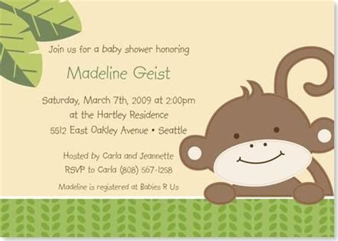 monkey invitations shower invitations and cheap baby