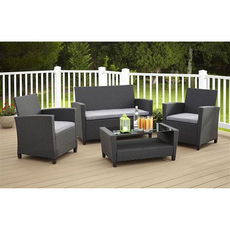 cosco outdoor malmo wicker 4 patio conversation set