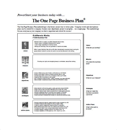 one page business plan template free plan on a page template plan template
