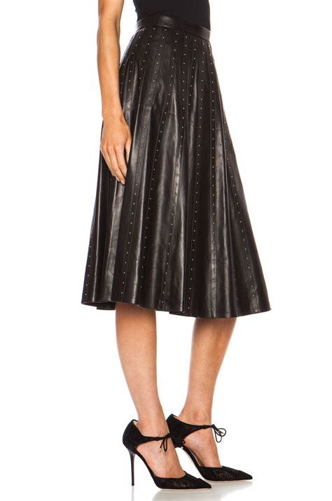 valentino flare studded leather skirt in black lyst