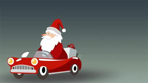 animated santa driving delivery flat transport truck with tree snowman and gift box pack delivery service