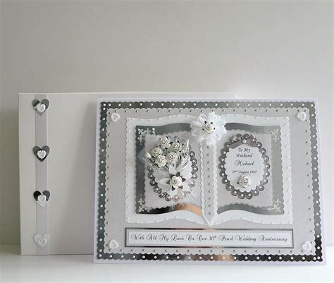 30th Pearl Wedding Anniversary Card   Matching Box A4 Size