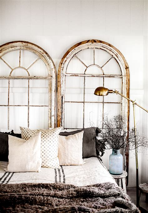 Arch Windows Decor Architectural Salvage Upcycle An Pair Of Arched Windows For A Headboard Great Idea