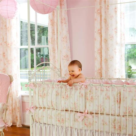 Shabby Chenille Crib Bedding Pink Floral Baby Girl Crib Shabby Chic Crib Bedding