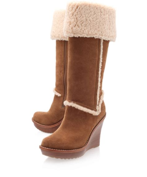 wedge boots ugg chestnut aubrie wedge boots in brown chestnut lyst