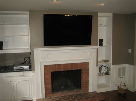 Hiding Tv Wires Above Fireplace by Woodbridge Ct Tv Mounted Fireplace All Wires