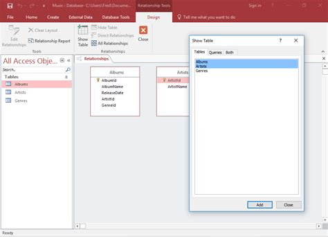 a quick tutorial on queries in microsoft access 2007 access 2016 create a relationship