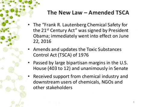 tsca section 6 toxic substances control act tsca reform what s new