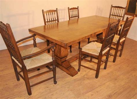 oak table and chairs for kitchen oak kitchen diner chair set refectory table and spindleback chairs