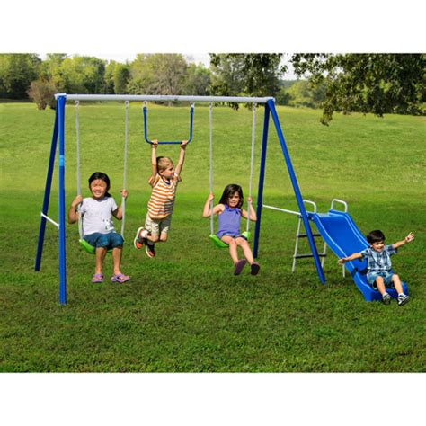 best metal swing sets for kids flexible flyer fun time fun metal swing set walmart com