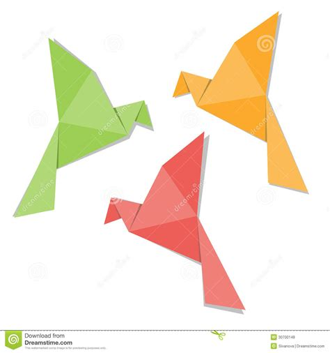 Folded Paper Birds - origami paper bird royalty free stock photos image 30700148
