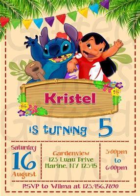 Birthday Invitation Lilo And Stitch Theme Free Lilo And Stitch Invitation Template