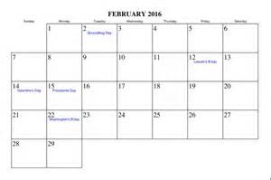 February 2015 Calendar With Holidays Calendar Template 2015 Monthly Calendar With
