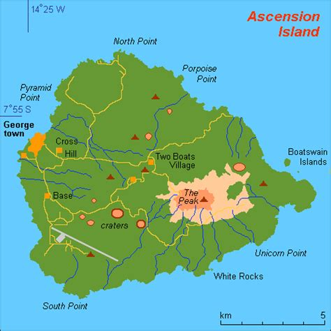 island map map of ascension island and information page