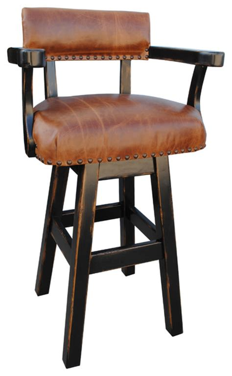 Rustic Leather Bar Stools by Rancho Collection River Western Rustic Swivel Bar Stool