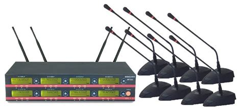 Mic Wireless Conference Hy 8002 8x100 channel uhf led wireless conference microphone system 8 gooseneck conference mic system
