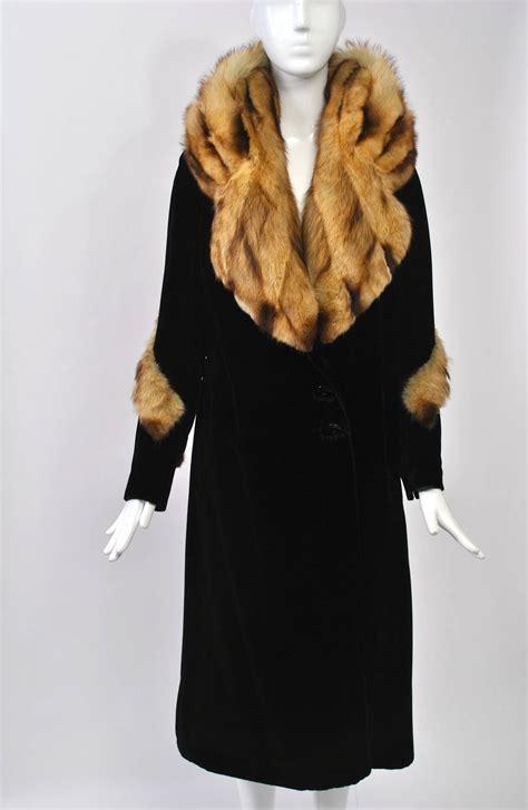 Home Decor Furniture Brooklyn by 1930s Fur Trimmed Velvet Coat At 1stdibs