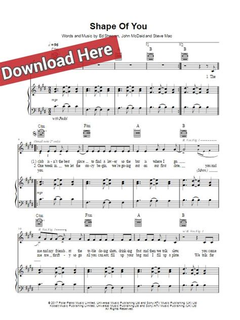 testo the best of you ed sheeran shape of you piano sheet notes chords