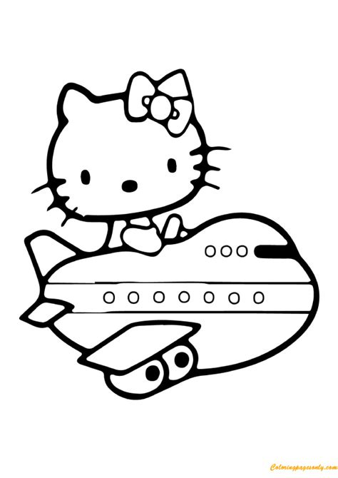 hello kitty airplane coloring page hello kitty airplane coloring page free coloring pages