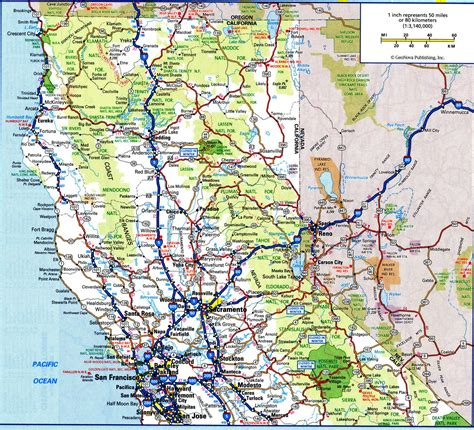 road map northern usa northern california road map california map