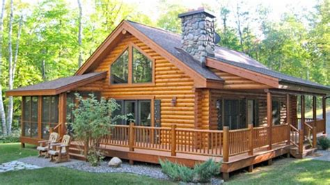 One Story Log Cabins | log cabin home with wrap around porch big log cabin homes