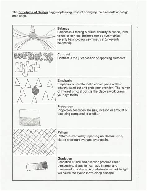 layout worksheet 11 principles of design worksheet images elements and
