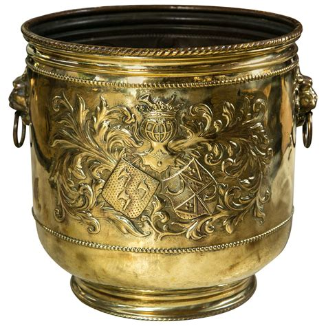 Antique Brass Planter by Large Brass Planter With A Coat Of Arms At 1stdibs