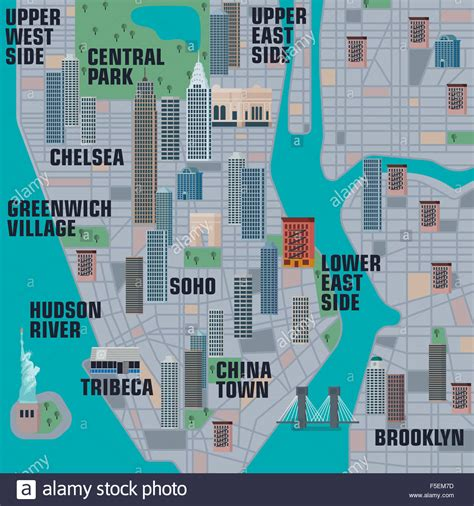 map of manhattan new york city illustrated map of manhattan new york city stock photo
