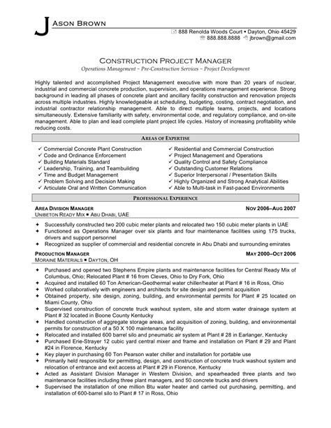 Resume Exles For Construction Supervisor 2016 Construction Project Manager Resume Sle Writing Resume Sle Writing Resume Sle