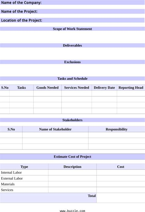 scope of work template templates forms pinterest