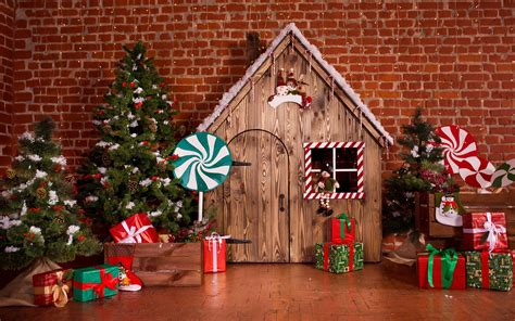 christmas trees wood house gifts candy decoration