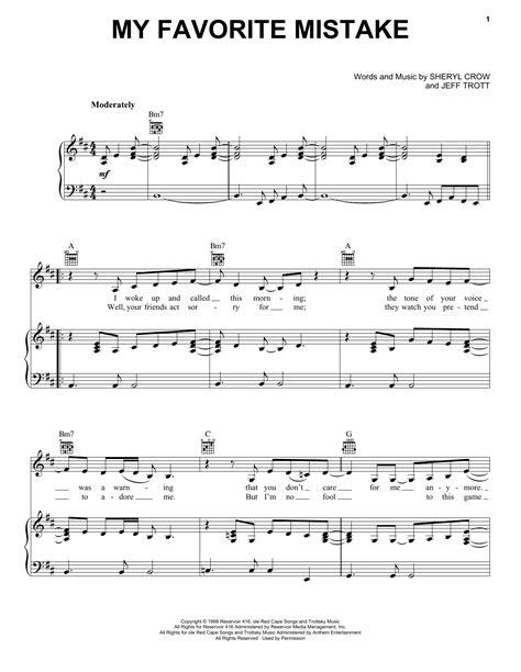My Favorite Mistake   Sheet Music Direct