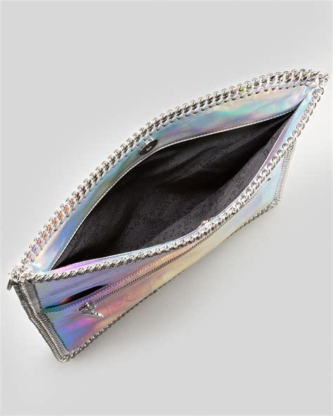 Stella Mccartney Metallic Clutch by Stella Mccartney Falabella Iridescent Foldover Clutch In