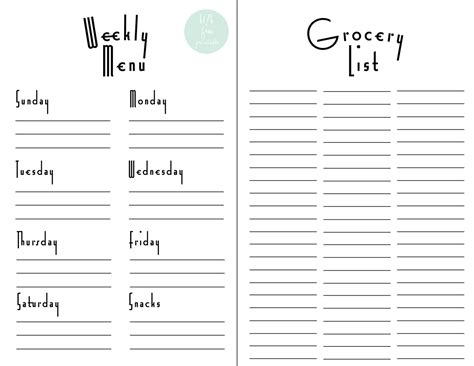 printable grocery list menu 8 best images of printable weekly grocery shopping list