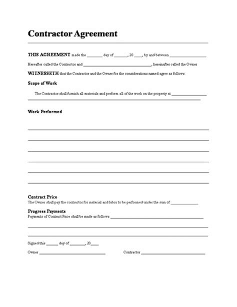 Simple Contractor Agreement Template by Housing Loan Contract Template Microsoft Word Templates