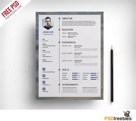 Clean Resume Template Free free clean resume psd template psdfreebies
