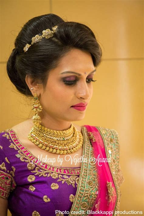 Indian Hairstyles With Lehenga | indian bride akshaya wears gorgeous pink and purple bridal