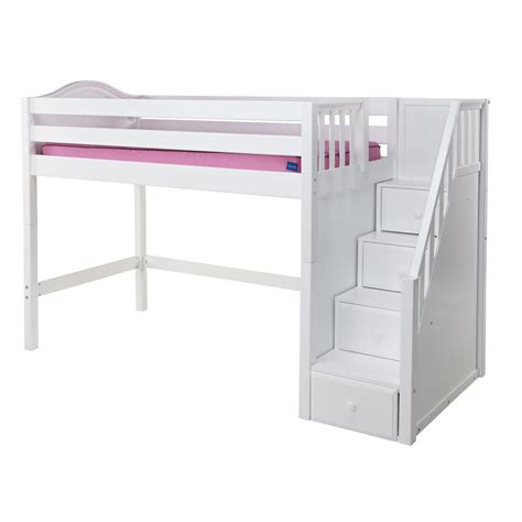 Stairs For Loft Bed maxtrix galant mid loft bed in white w stairs curve bed