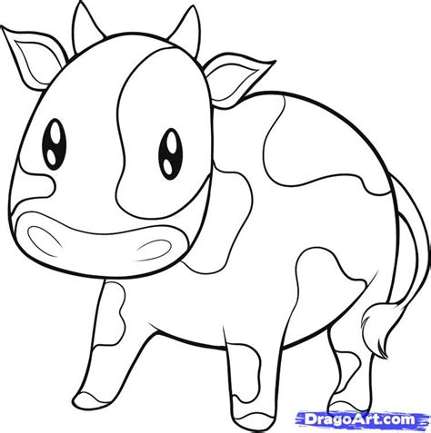simple cow coloring page how to draw an easy cow step by step farm animals