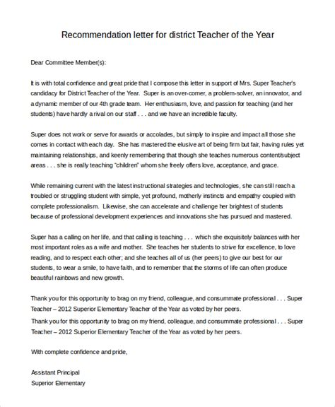 Reference Letter For Of The Year Sle Letter Of Recommendation For 8 Exles In Pdf Word