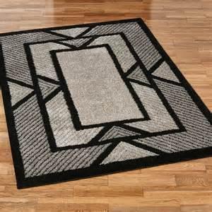 ternion black deco shag area rugs