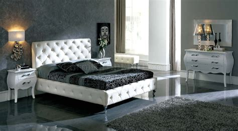 white nelly bed  esf wmodern tufted leather headboard