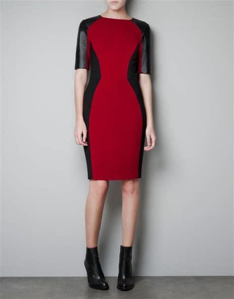 Dress Bodycon Zara zara bodycon dress with leather details in maroon lyst