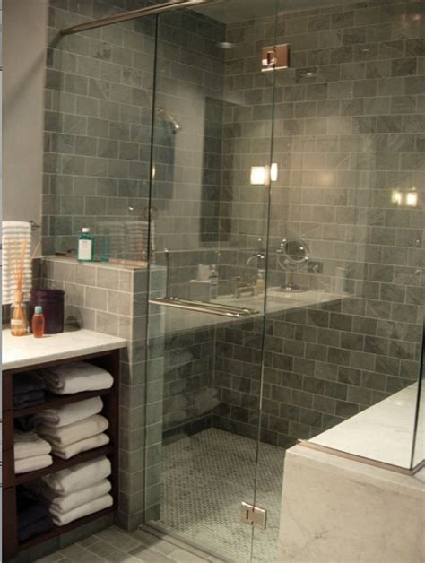 Blue Gray Subway Tiles Contemporary Bathroom Grey Tile Bathroom Designs