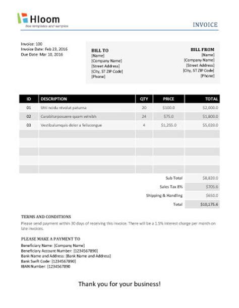 19 Blank Invoice Templates Microsoft Word Firm Invoice Template Word