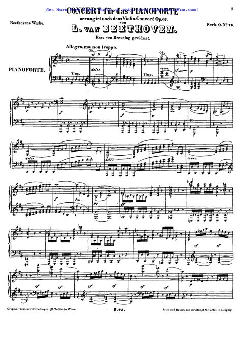 ludwig van beethoven music free sheet music for piano concerto in d major op 61a
