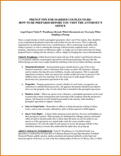 100 prenuptial agreement template common law