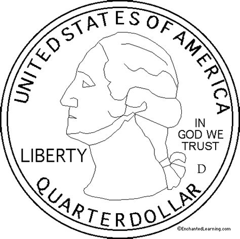 printable quarter coin us state quarter obverse enchanted learning