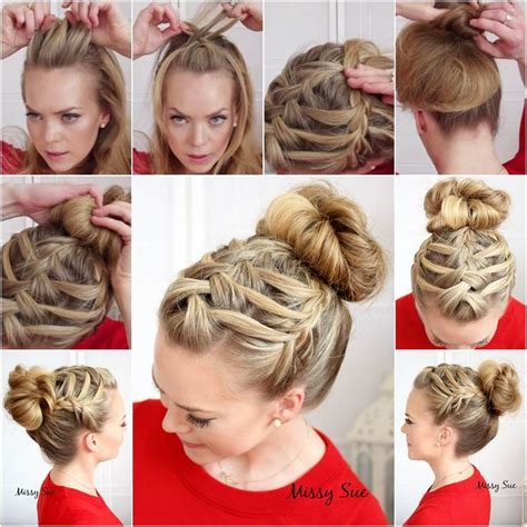 the triple braided bun with flower crown hairstyle design page 4 of how to diy double waterfall triple french braid hairstyle