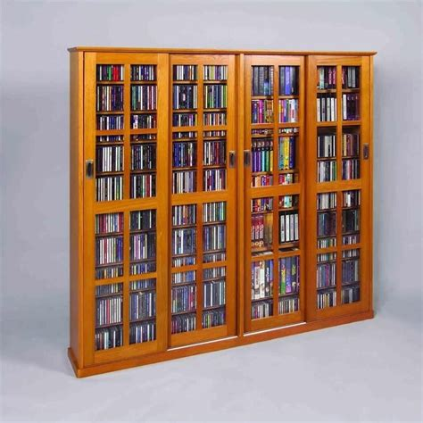 Media Storage Cabinet With Glass Doors 4 Door Glass Cd Dvd Wall Media Storage Cabinet Ms 1400x